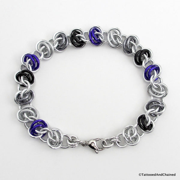 Asexual pride bracelet, chainmaille barrel weave - Tattooed and Chained Chainmaille  - 4
