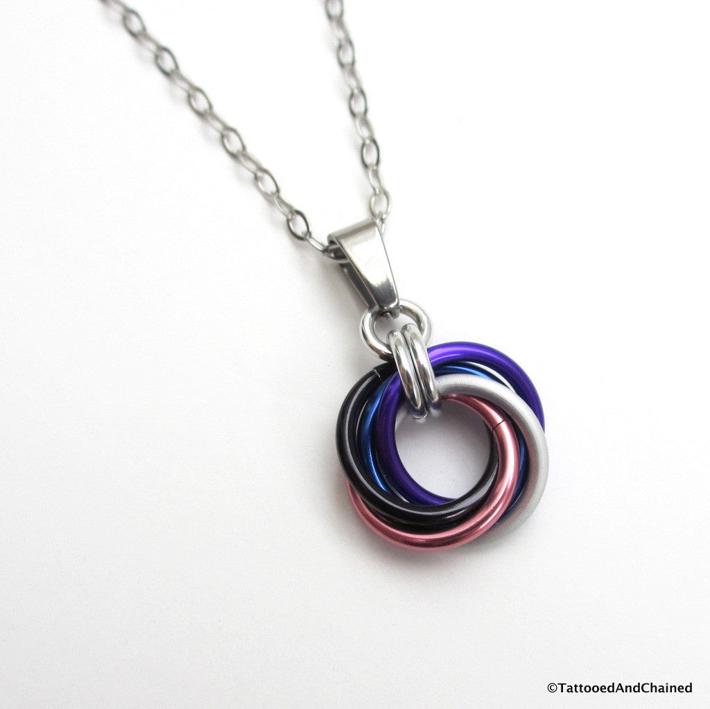 Genderfluid pride chainmaille love knot pendant; pink, white, purple, black and blue - Tattooed and Chained Chainmaille  - 1