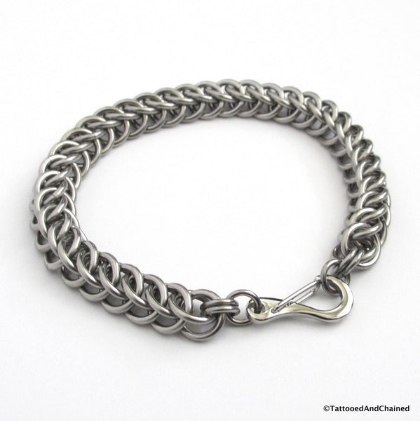 Thick stainless steel chainmaille bracelet, 16 gauge half Persian 3 in 1 weave - Tattooed and Chained Chainmaille  - 3