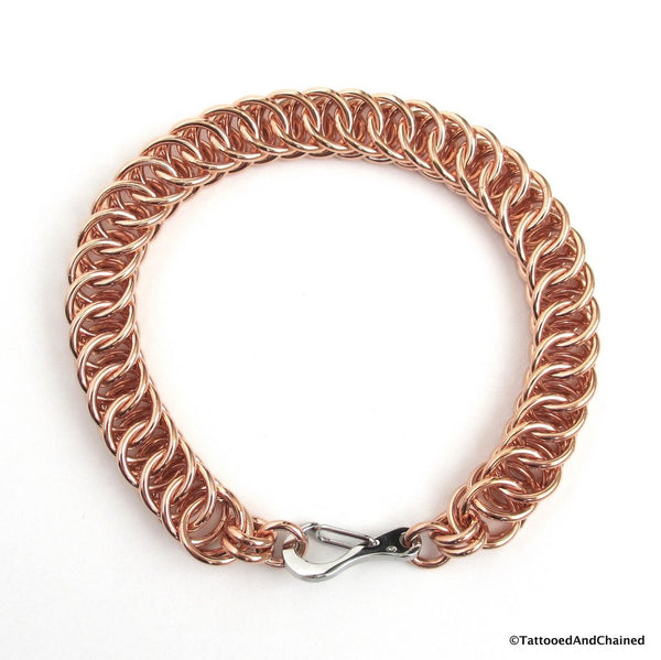 Copper chainmaille bracelet, 16 gauge half Persian 4 in 1 weave - Tattooed and Chained Chainmaille  - 4