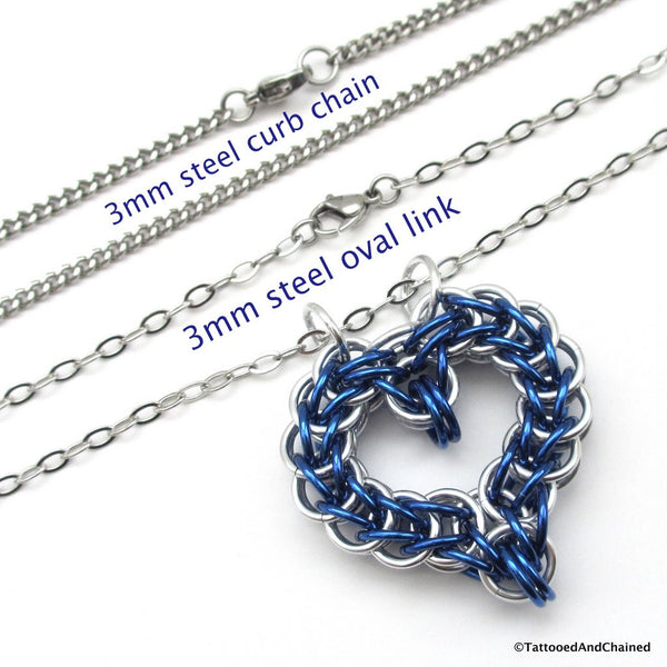 Blue chainmaille heart pendant - Tattooed and Chained Chainmaille  - 2