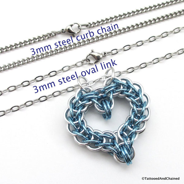 Turquoise chainmaille heart pendant - Tattooed and Chained Chainmaille  - 2