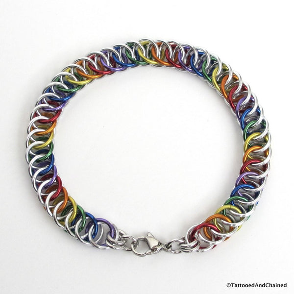 Gay pride bracelet, rainbow half Persian 4 in 1 chainmaille - Tattooed and Chained Chainmaille  - 5