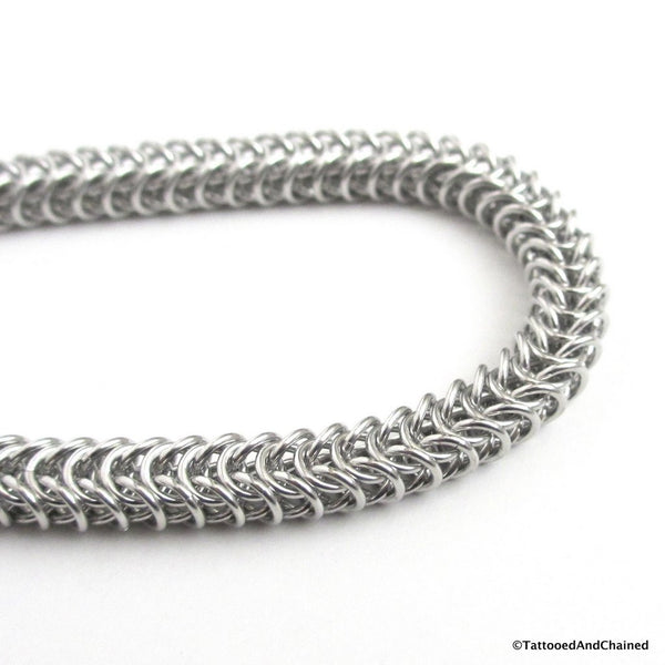 Silver aluminum box chain chainmaille bracelet, 20 gauge - Tattooed and Chained Chainmaille  - 3