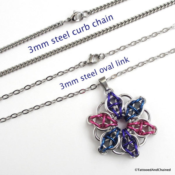 Bisexual pride chainmaille star pendant; pink, purple, blue - Tattooed and Chained Chainmaille  - 2