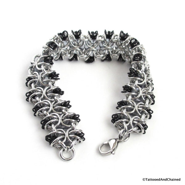 Glass chainmaille bracelet; gray, black and silver - Tattooed and Chained Chainmaille  - 4