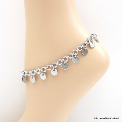 Chainmaille anklet with confetti disc dangles - Tattooed and Chained Chainmaille  - 1