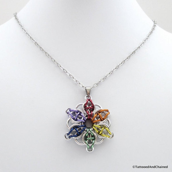 Gay pride chainmaille star pendant; rainbow - Tattooed and Chained Chainmaille  - 3