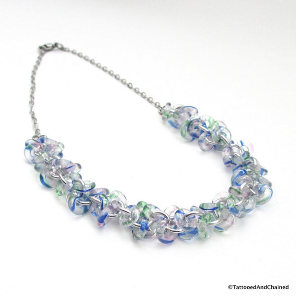 Blue & green glass chainmaille necklace, shaggy loops weave - Tattooed and Chained Chainmaille  - 4