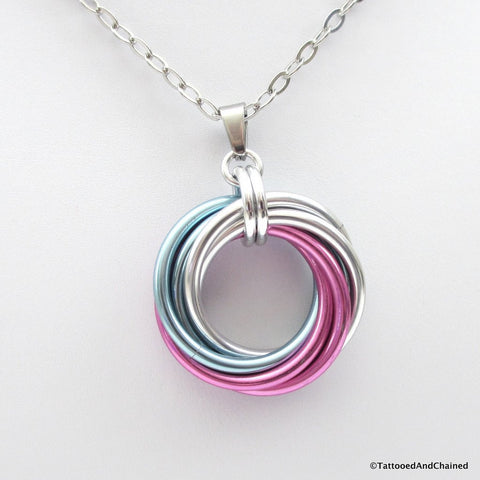 Large transgender pride chainmaille love knot pendant; pink, white, light blue - Tattooed and Chained Chainmaille  - 1