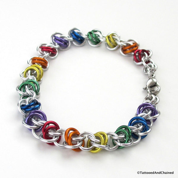 Gay pride bracelet, rainbow chainmaille barrel weave - Tattooed and Chained Chainmaille  - 5