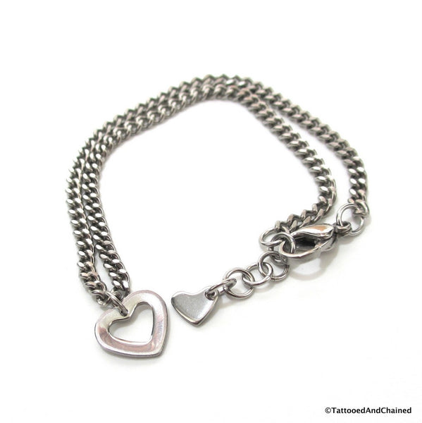 Stainless steel chain anklet with heart charm - Tattooed and Chained Chainmaille  - 3