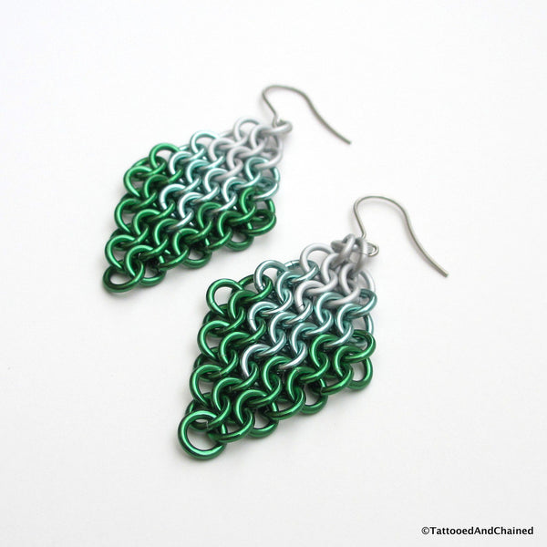Green ombre chainmaille earrings, Euro 4 in 1 weave - Tattooed and Chained Chainmaille  - 5