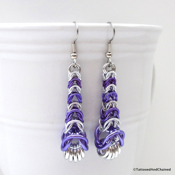Purple chainmaille earrings, graduated box chain - Tattooed and Chained Chainmaille  - 3