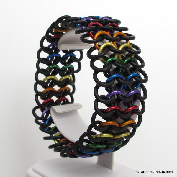 Rainbow gay pride stretchy bracelet, chainmaille European 4 in 1 weave - Tattooed and Chained Chainmaille  - 5