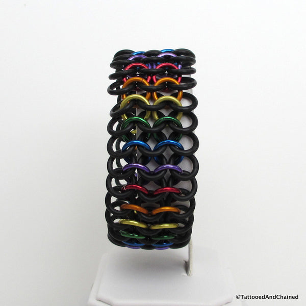 Rainbow gay pride stretchy bracelet, chainmaille European 4 in 1 weave - Tattooed and Chained Chainmaille  - 4