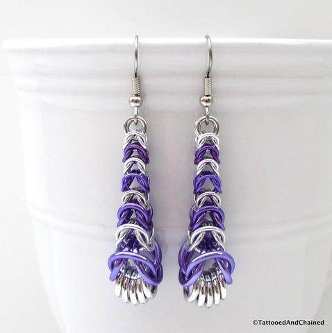 Purple chainmaille earrings, graduated box chain - Tattooed and Chained Chainmaille  - 1
