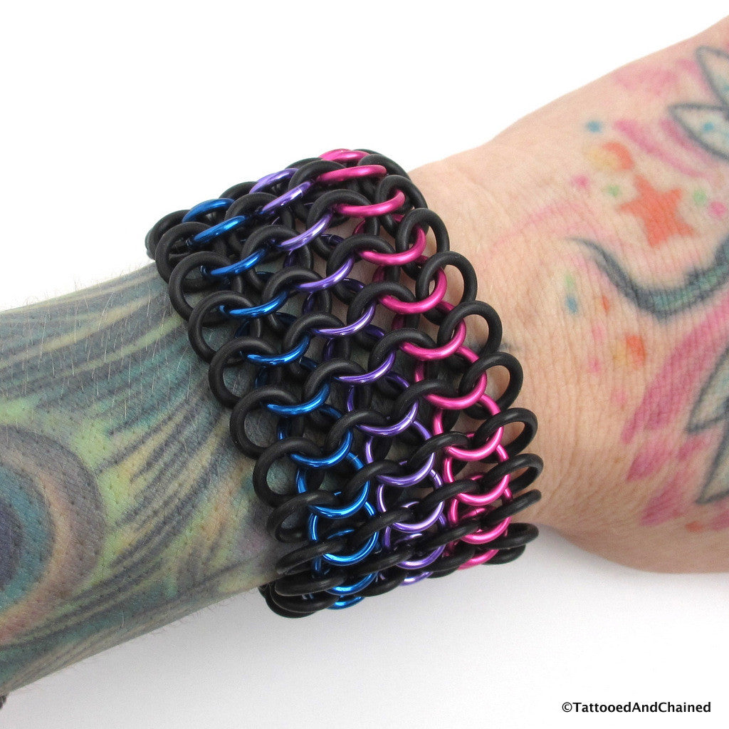 Bi pride stretchy cuff bracelet, chainmaille European 4 in 1 weave - Tattooed and Chained Chainmaille  - 1