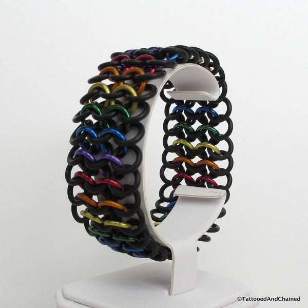Rainbow gay pride stretchy bracelet, chainmaille European 4 in 1 weave - Tattooed and Chained Chainmaille  - 3