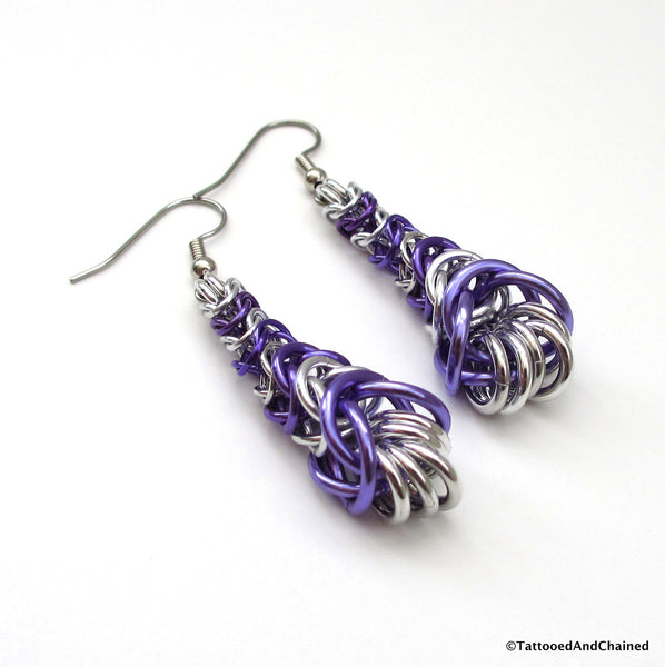 Purple chainmaille earrings, graduated box chain - Tattooed and Chained Chainmaille  - 5