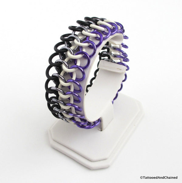 Ace pride stretchy bracelet, chainmaille Euro 4 in 1 - Tattooed and Chained Chainmaille  - 3