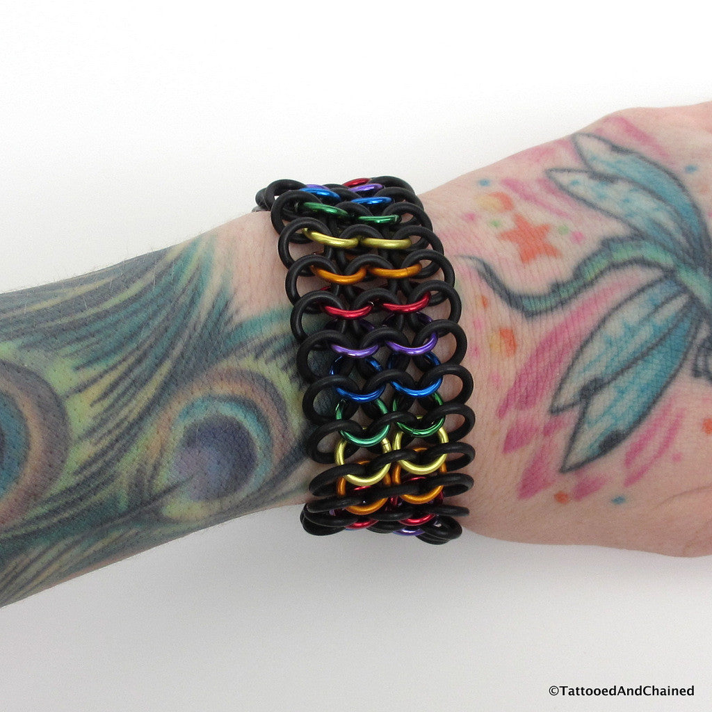 Rainbow gay pride stretchy bracelet, chainmaille European 4 in 1 weave - Tattooed and Chained Chainmaille  - 1