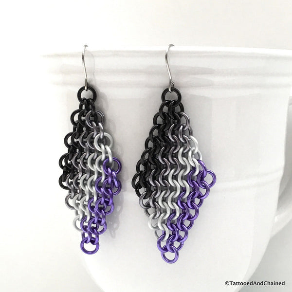 Ace pride flag chainmaille earrings, European 4 in 1 - Tattooed and Chained Chainmaille  - 1