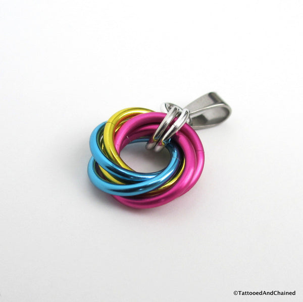 Pansexual pride chainmaille love knot pendant; pink, yellow, light blue - Tattooed and Chained Chainmaille  - 5