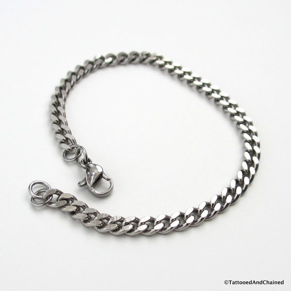4mm stainless steel curb chain bracelet - Tattooed and Chained Chainmaille  - 4