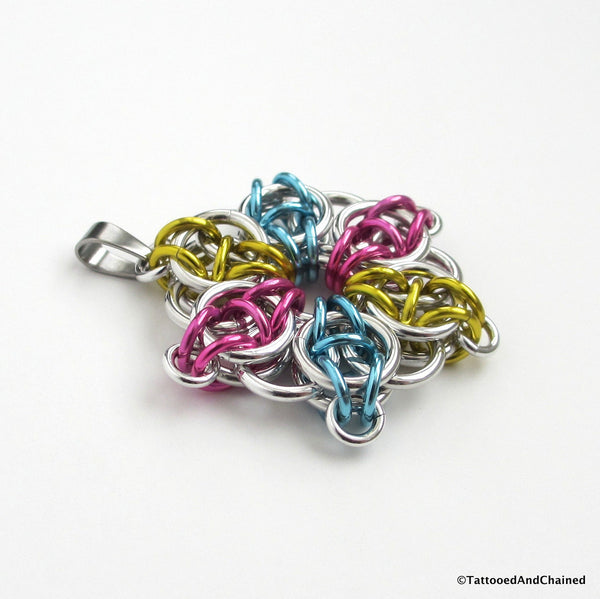Pansexual pride pendant, chainmaille Celtic star; pink, yellow, light blue - Tattooed and Chained Chainmaille  - 2