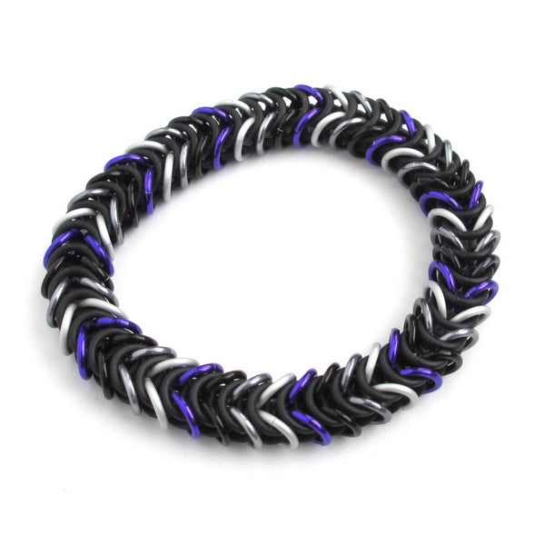 Ace pride stretchy bracelet, chainmaille box chain - Tattooed and Chained Chainmaille  - 5