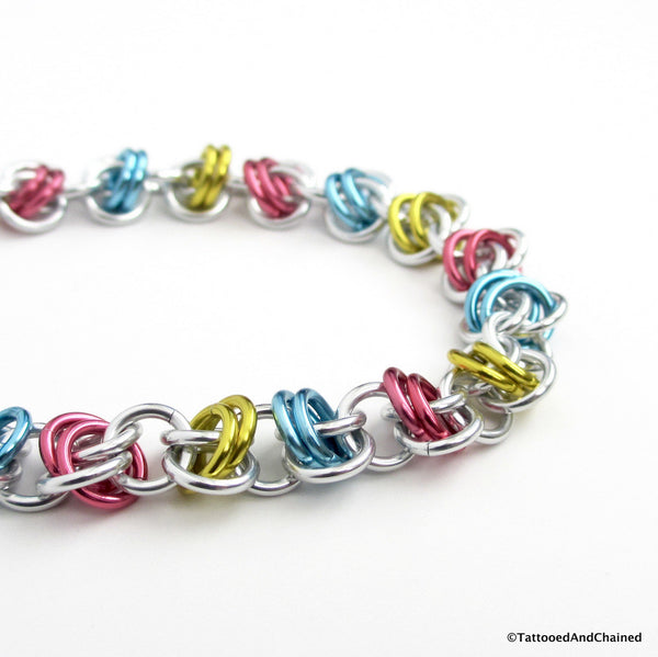 Pansexual pride bracelet, chainmaille barrel weave - Tattooed and Chained Chainmaille  - 3