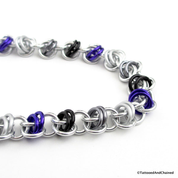Asexual pride bracelet, chainmaille barrel weave - Tattooed and Chained Chainmaille  - 5