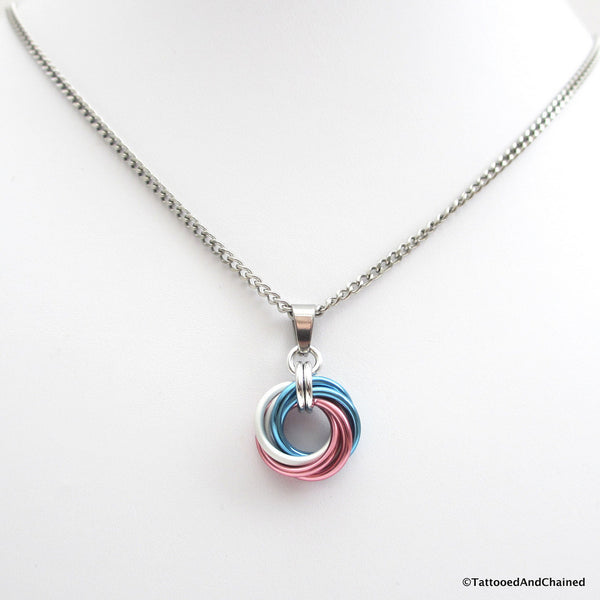 Transgender pride chainmaille love knot pendant; pink, white, light blue - Tattooed and Chained Chainmaille  - 2