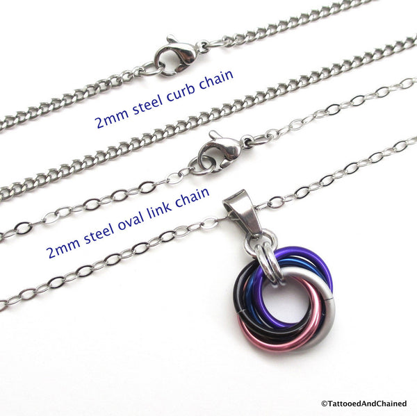 Genderfluid pride chainmaille love knot pendant; pink, white, purple, black and blue - Tattooed and Chained Chainmaille  - 4