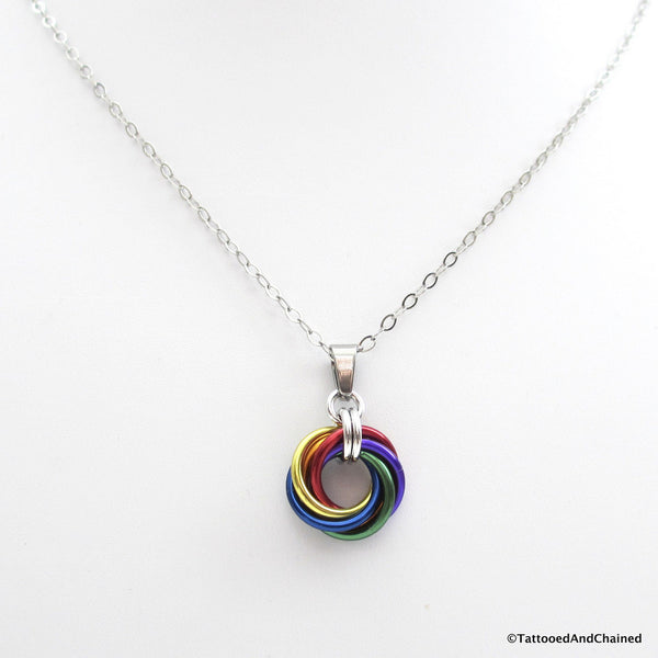 Gay pride chainmaille love knot pendant; rainbow LGBT jewelry - Tattooed and Chained Chainmaille  - 2