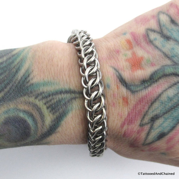 Thick stainless steel chainmaille bracelet, 16 gauge half Persian 3 in 1 weave - Tattooed and Chained Chainmaille  - 4