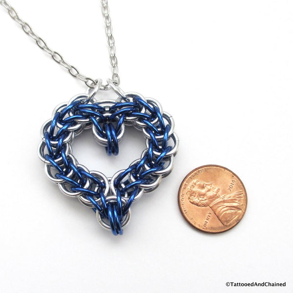 Blue chainmaille heart pendant - Tattooed and Chained Chainmaille  - 4