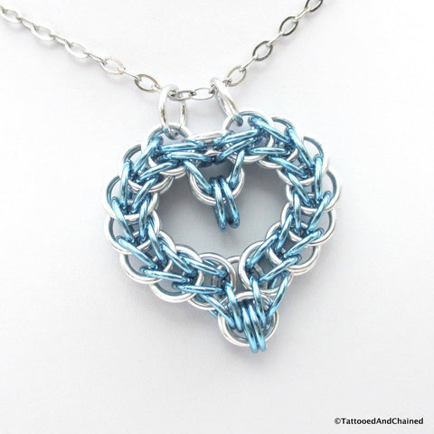 Turquoise chainmaille heart pendant - Tattooed and Chained Chainmaille  - 1