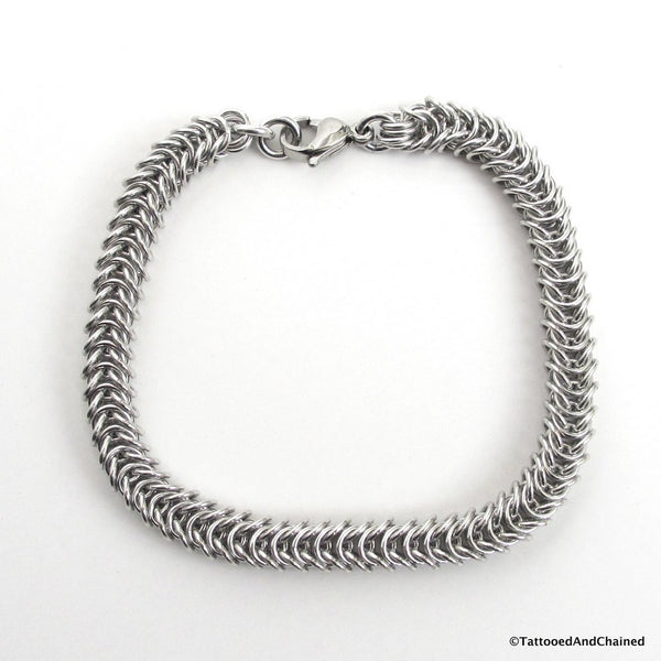 Silver aluminum box chain chainmaille bracelet, 20 gauge - Tattooed and Chained Chainmaille  - 4