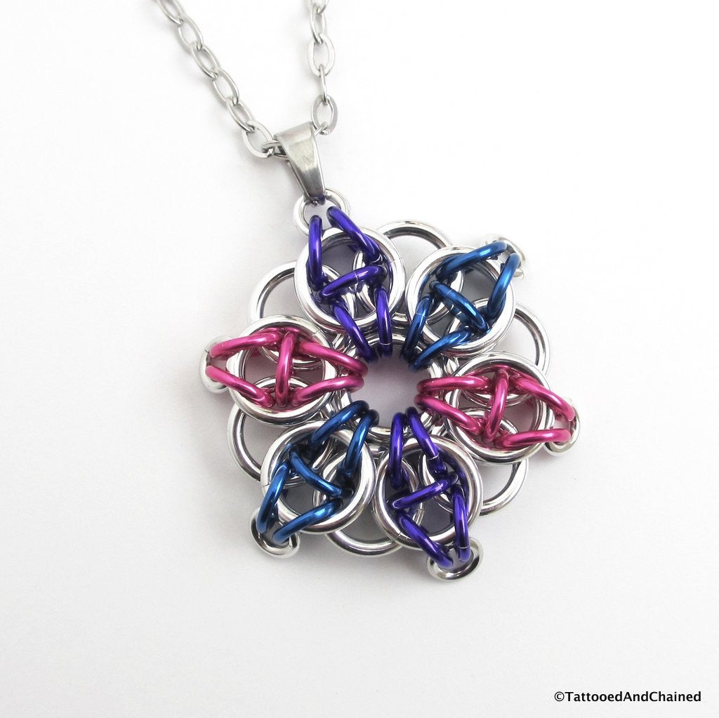 Bisexual pride chainmaille star pendant; pink, purple, blue - Tattooed and Chained Chainmaille  - 1