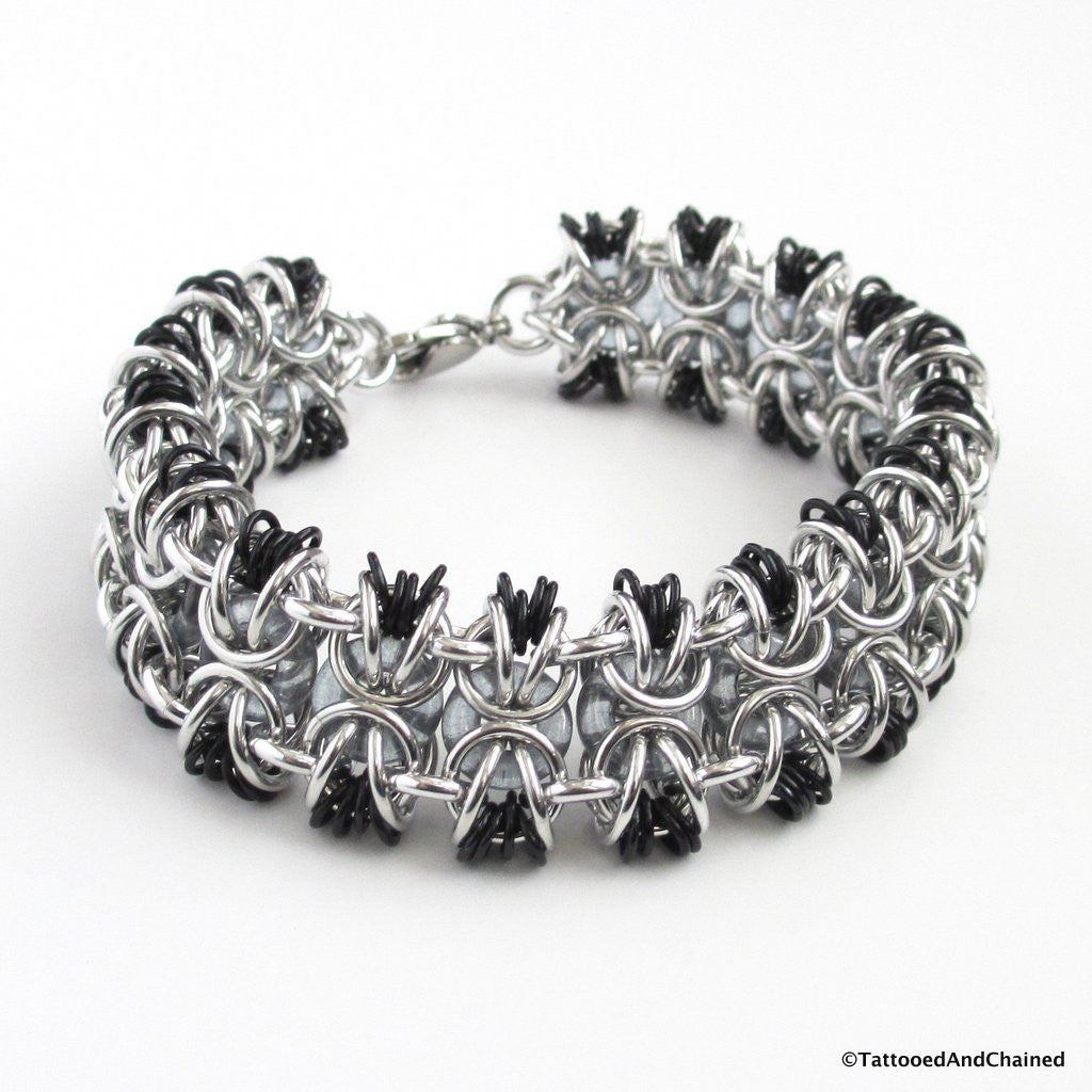 Glass chainmaille bracelet; gray, black and silver - Tattooed and Chained Chainmaille  - 1