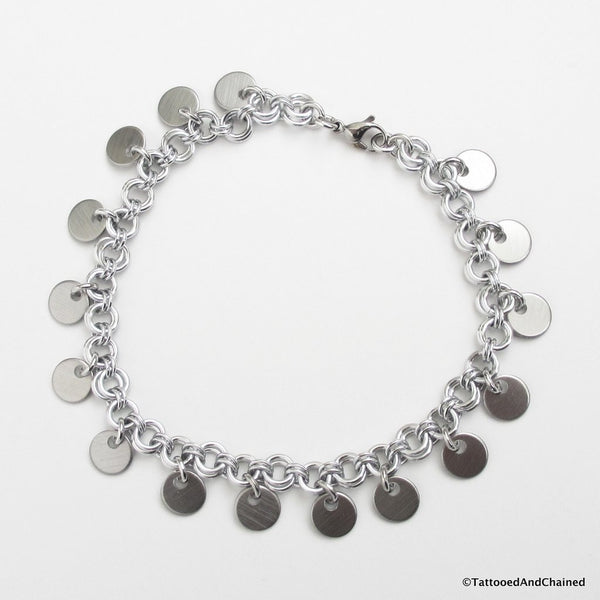 Chainmaille anklet with confetti disc dangles - Tattooed and Chained Chainmaille  - 4
