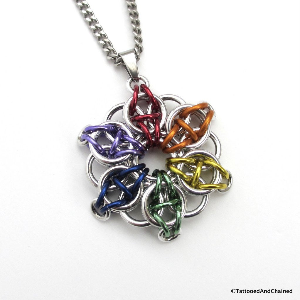 Gay pride chainmaille star pendant; rainbow - Tattooed and Chained Chainmaille  - 1