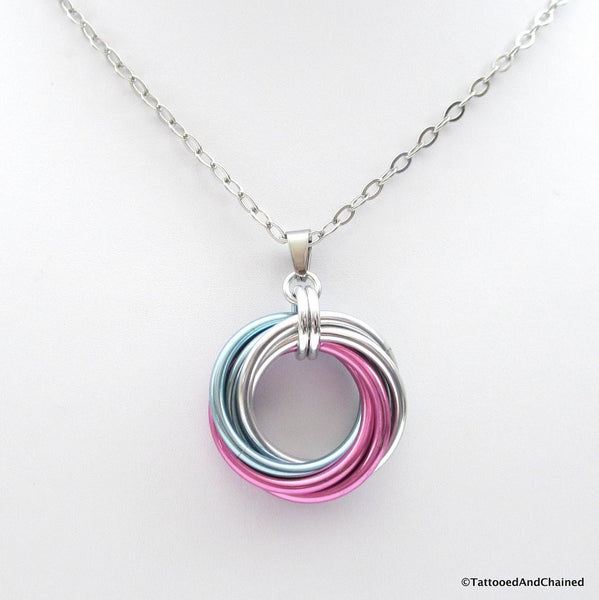 Large transgender pride chainmaille love knot pendant; pink, white, light blue - Tattooed and Chained Chainmaille  - 4