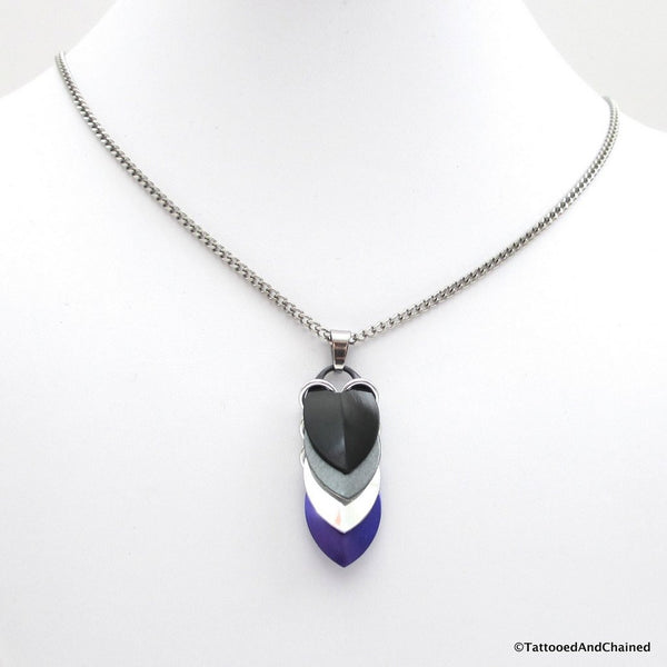 Asexual pride pendant, chainmaille scales