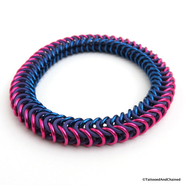 Bisexual pride stretchy bracelet, chainmaille box chain - Tattooed and Chained Chainmaille  - 3