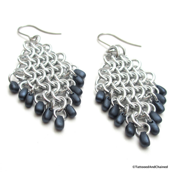 Beaded diamond shaped chainmaille earrings, Euro 4 in 1 weave - Tattooed and Chained Chainmaille  - 3