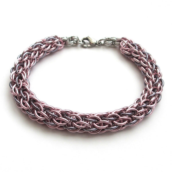 Pastel pink & gray chainmaille bracelet, candy cane cord weave - Tattooed and Chained Chainmaille  - 3