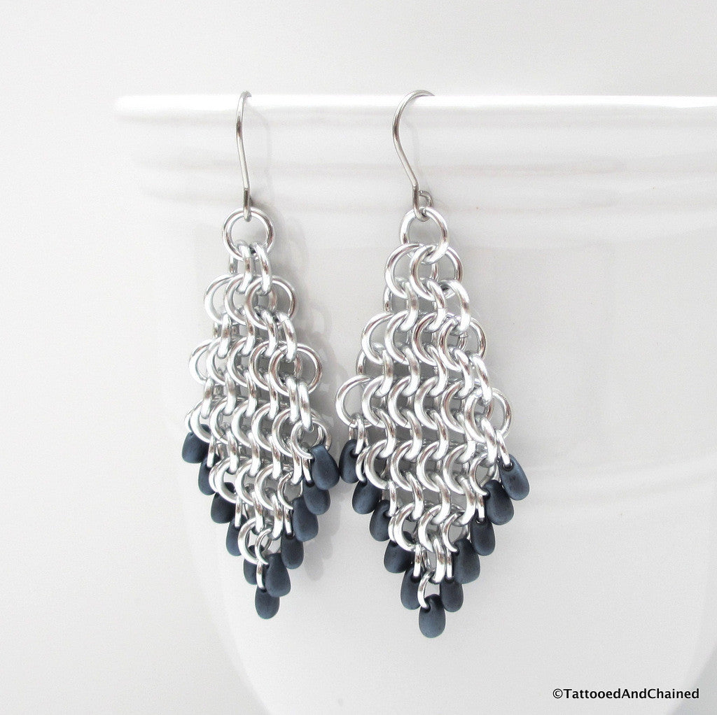Beaded diamond shaped chainmaille earrings, Euro 4 in 1 weave - Tattooed and Chained Chainmaille  - 1